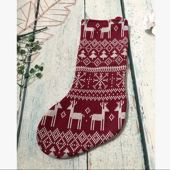 Christmas stocking red rustic reindeer holiday